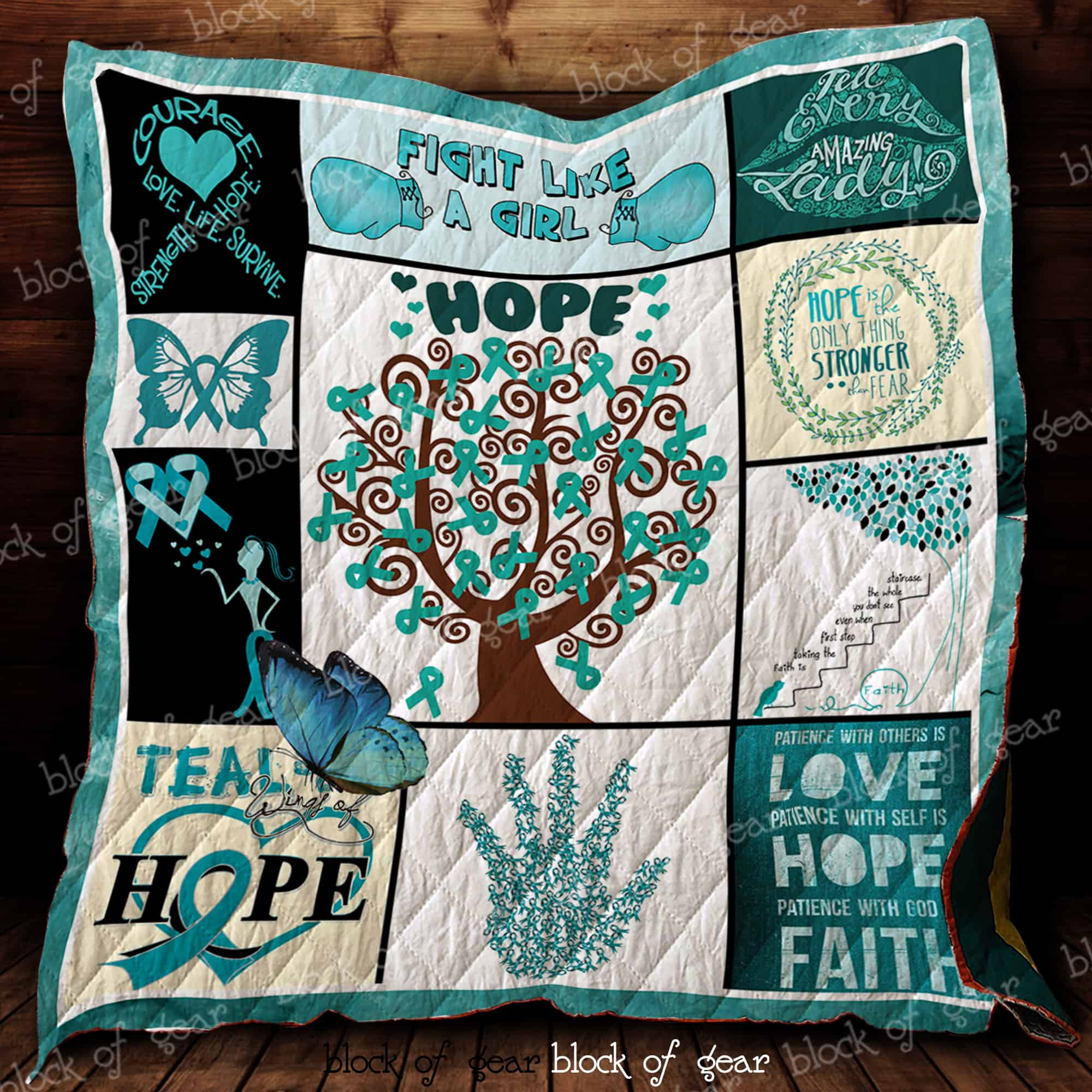 Fight Ovarian Cancer With Hope Quilt D248 Block Of Gear Block Of Gear