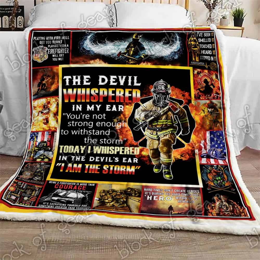 Be Strong And Courage Firefighter Quilt Blanket