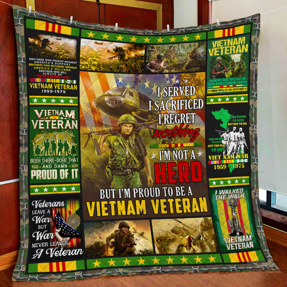 US Veteran I Walked The Walk So You Could Talk The Talk Polycotton Fleece Quilt